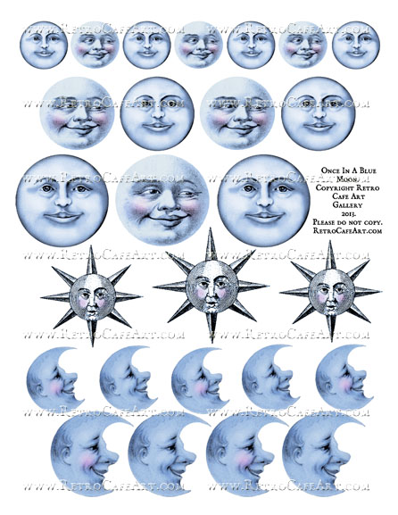 Once In A Blue Moon Collage Sheet