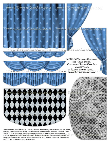MEDIUM Theatre Curtains Set Collage Sheet - Blue Moon