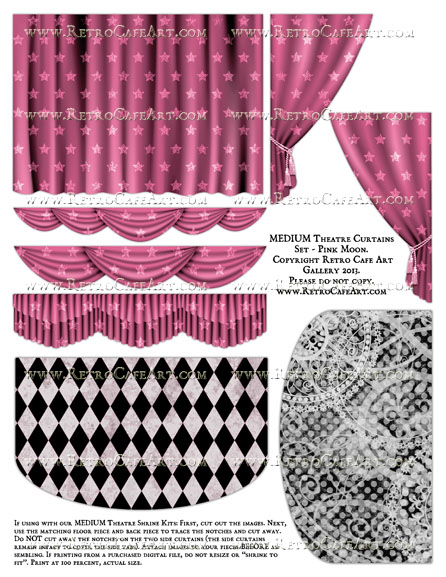 MEDIUM Theatre Curtains Set Collage Sheet - Pink Moon