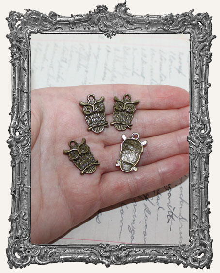 Antique Brass Detailed Owl Charms - Set of 4