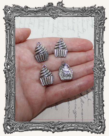 Antique Silver Sweet Cupcake Charms - Set of 4