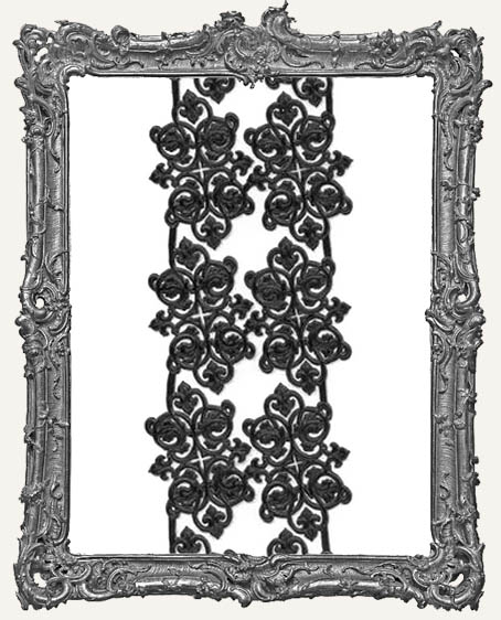 German Dresden Black Scroll Decorations - 12 Pieces