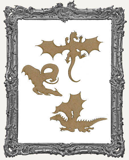 Chipboard Dragon Cut-Outs - 3 Pieces