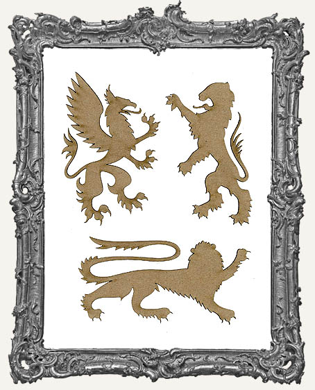 Chipboard Heraldic Griffins Cut-Outs - 3 Pieces