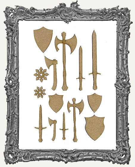 Medieval Weaponry Cut-Outs - 14 Pieces