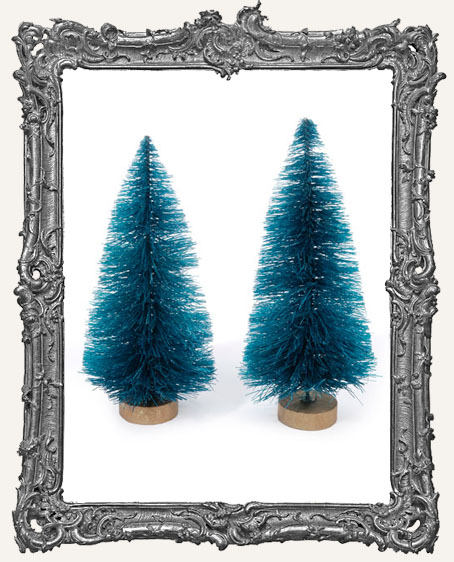 4 Inch Green Bottle Brush Trees - Set of 2