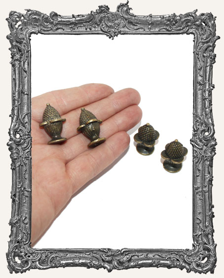 Aged Antique Brass Pineapple Box Feet or Drawer Pulls - Set of 4