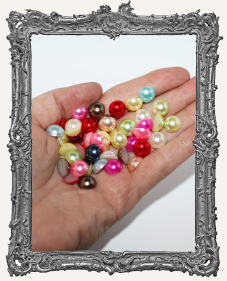 Half Round Flat Back Pearl Cabochon Rainbow Mix - 12mm - 15 Pieces