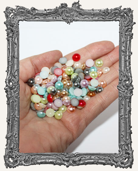 Half Round Flat Back Pearl Cabochon Rainbow Mix - 7mm - 20 Pieces