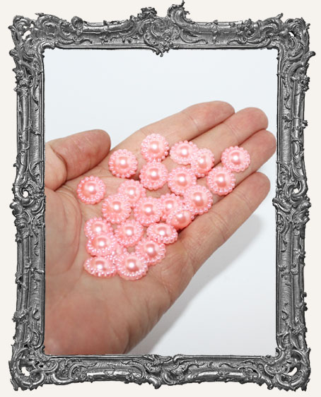 Half Round Flat Back Fancy Pearl Cabochon PINK - 12mm - 20 Pieces