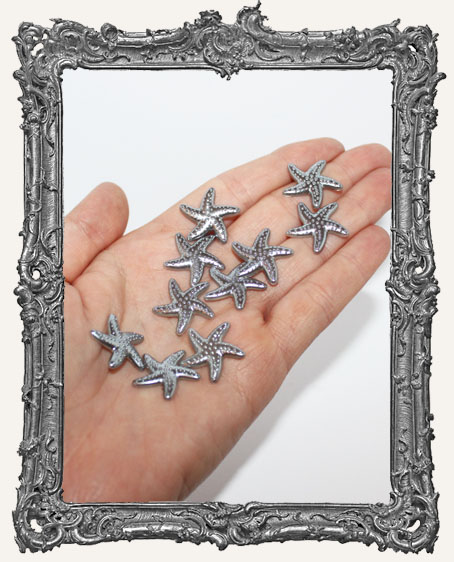 Flat Back Starfish Cabochon SILVER - 20mm - 10 Pieces