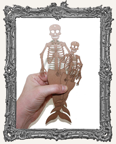 Chipboard Mermaid Skeletons with Straight Tails - Set of 3