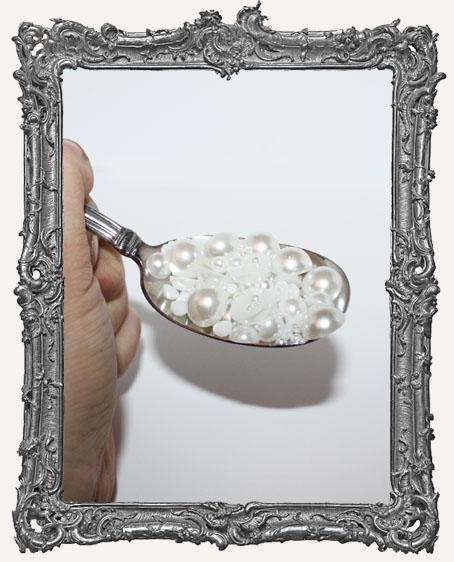 Half Round Flat Back Pearl Cabochon Mix - White