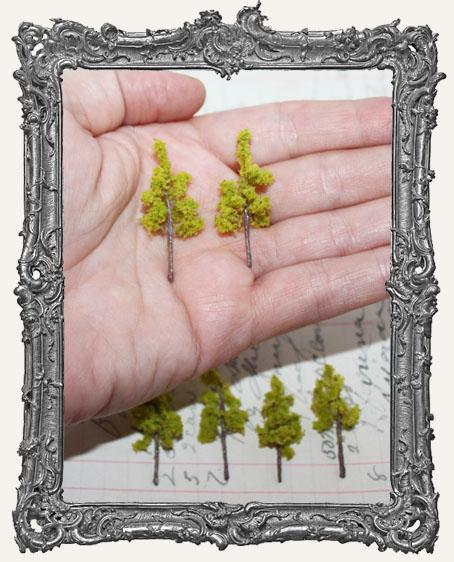 Miniature LIGHT GREEN Trees - Set of 2