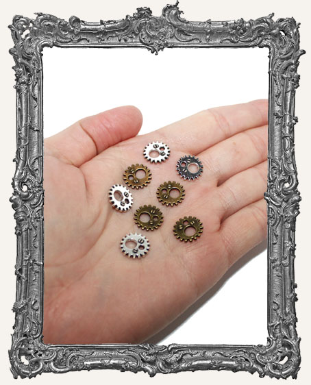 12mm Fancy Gear Charms Silver and Brass - Set of 8