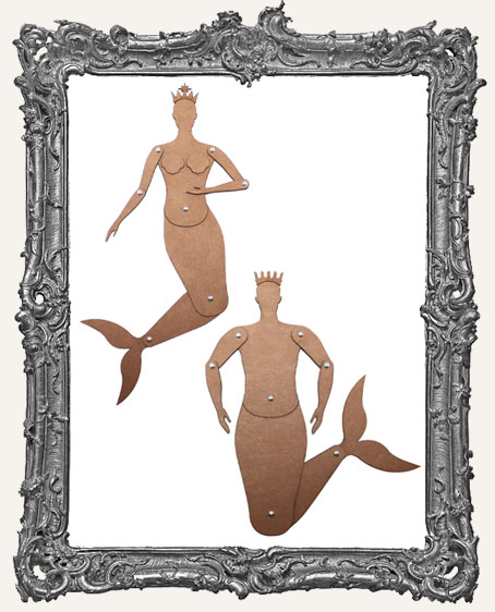 Articulated CHIPBOARD MEDIUM Mermaid and MerMAN Art Doll Kits - Group Special