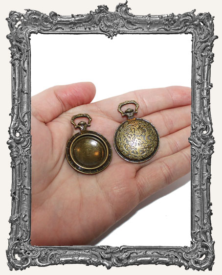 Ornate Brass Pocket Watch Charm - 1 Piece