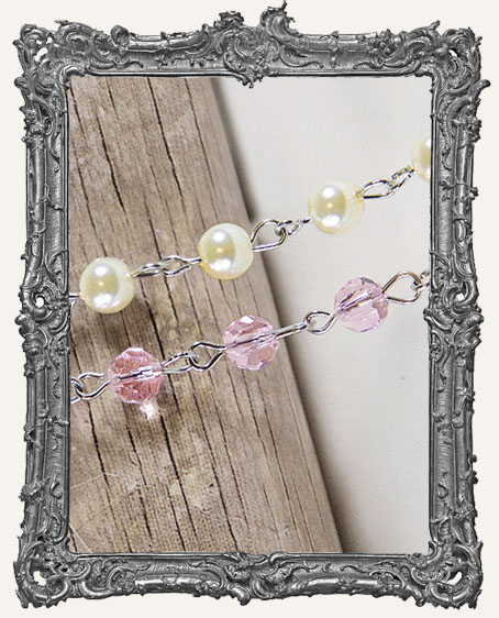 A Gilded Life Beaded Pearl and Pink Rosary Chain