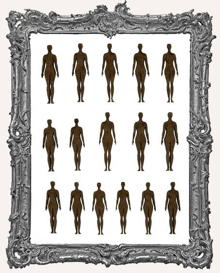 Anatomical Position Women Cut-Outs - 16 Pieces