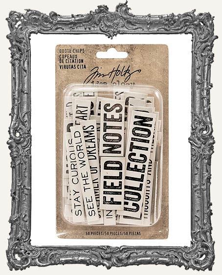 Tim Holtz - Idea-ology - Chipboard Quote Chips Word And Phrases 58 Pieces