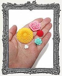 Resin Flower Cabochon Mix - Pack of 5