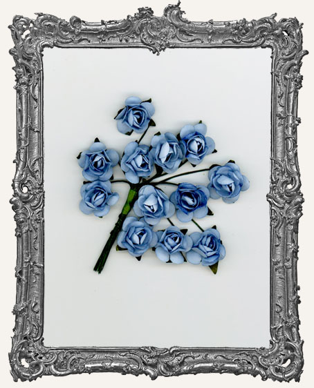 Dusty Blue Mini Paper Roses - 12