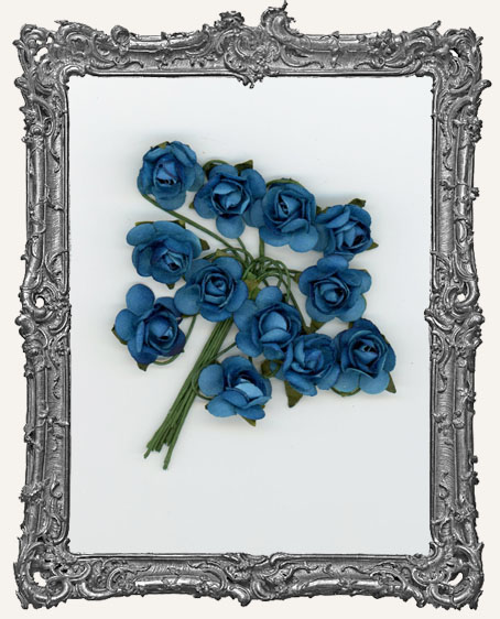 Jewel Tone Blue Mini Paper Roses - 12