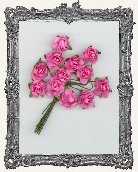 Medium Pink Mini Paper Roses - 12