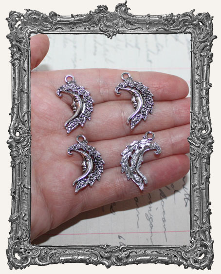 Antique Silver Ornate Moon Charms - Set of 4