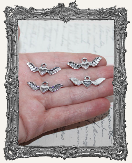 Antique Silver Small Winged Heart Charms II - Set of 4