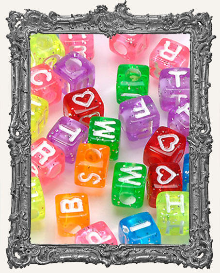 Alpha Beads - Cube - Transparent Glitter with White Letters - 8mm
