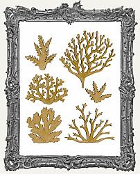 Chipboard Coral Cut-Outs - Style 2 - 6 Pieces