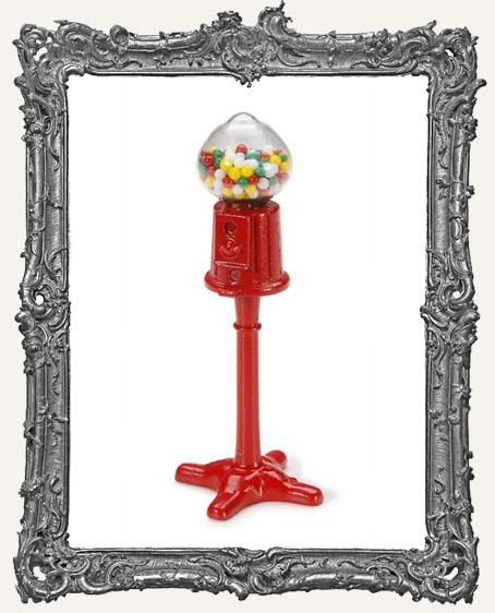 Miniature Floor Model Red Gumball Machine - 1.75 Inches