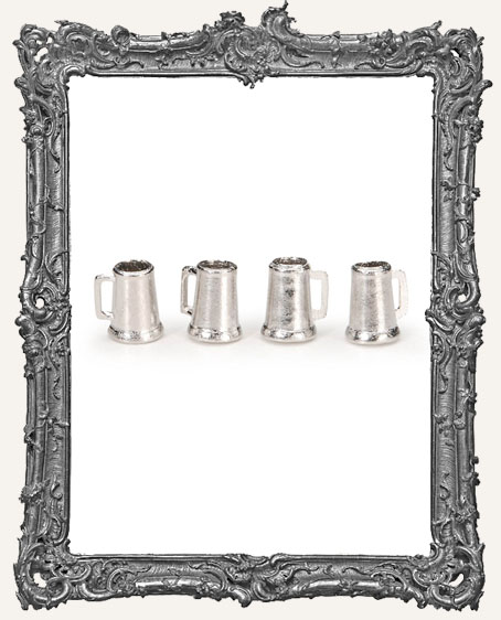 Miniature Pewter Mugs - 5/8 inch - 4 pieces