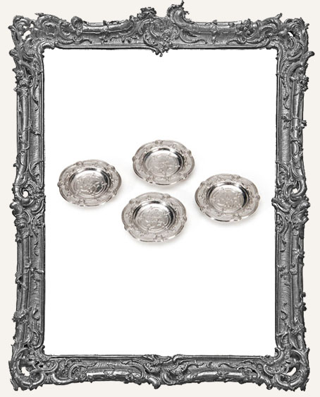 Miniature Pewter Dishes - 1-1/8 Inches - 4 Pieces