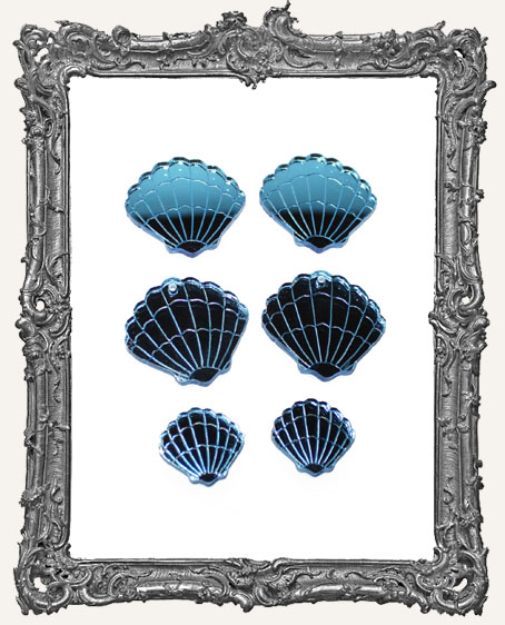 Limited Edition Blue Mirrored Shells - Set of 2