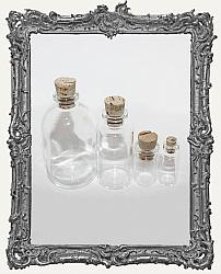 Glass Bottles with Corks - Set of 4 Different Sizes