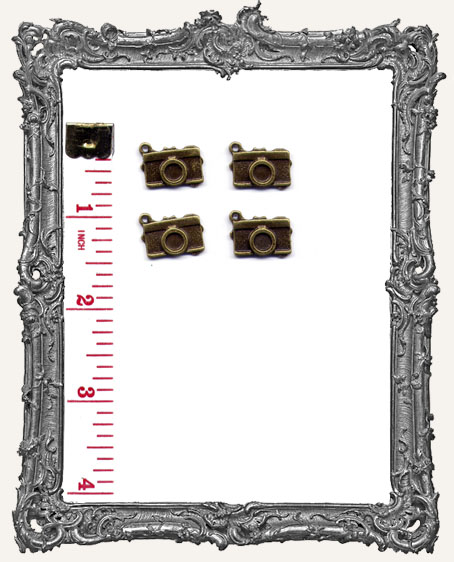 Antique Brass Camera Charms - Set of 4