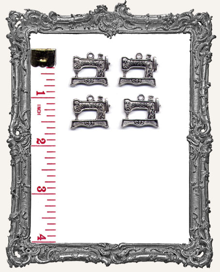 Antique Silver Singer Sewing Machine Charms - Set of 4
