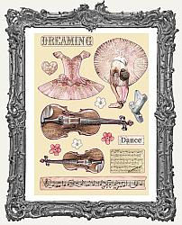 Stamperia Colored Wooden Shapes - Passion Violin and Dance