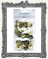 49 And Market Royal Posies Paper Flowers 49 Pieces - Olive