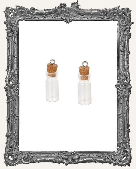 Glass Bottle Charm with Cork Stopper - 22mm - 2 pieces