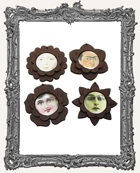 Fairy Bloom Flower Pendant or Pin Set - Set of 4