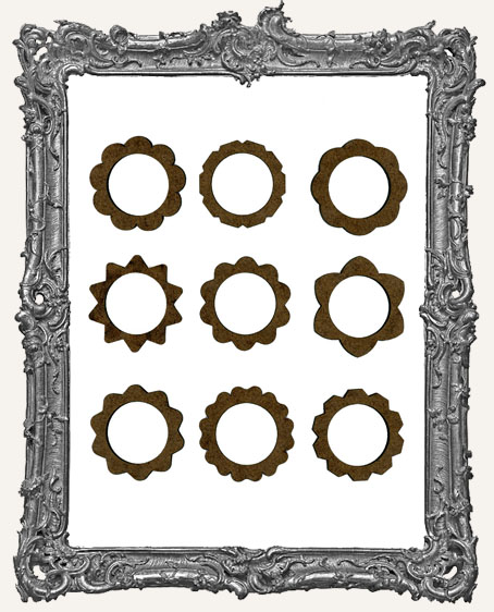 Ornate 1 Inch Circle Frame Cut-Outs - 9 Pieces