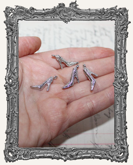 Silver High Heel Shoe Charms - Set of 2
