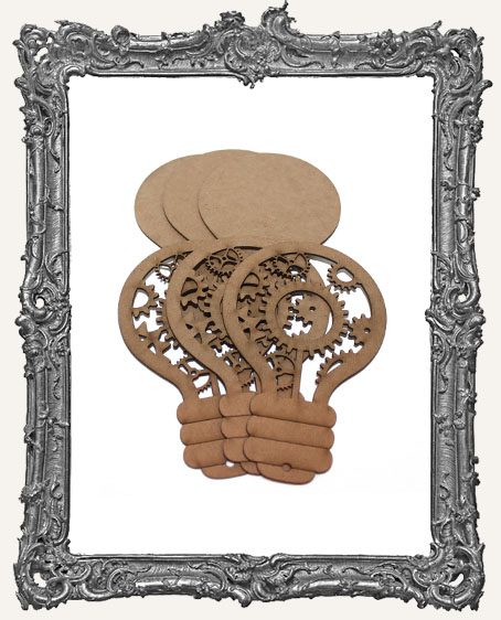 Chipboard Steampunk Light Bulbs Style 3 - Set of 3