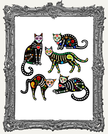 Limited Edition Dia De Los Muertos Cats Wood Cut-Outs - Set of 5