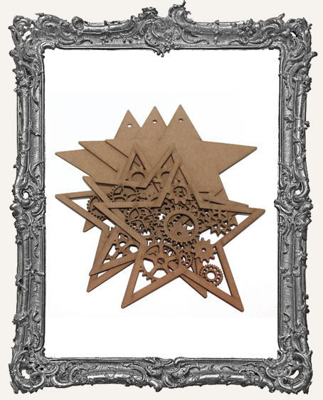 Chipboard Steampunk Stars - Set of 3
