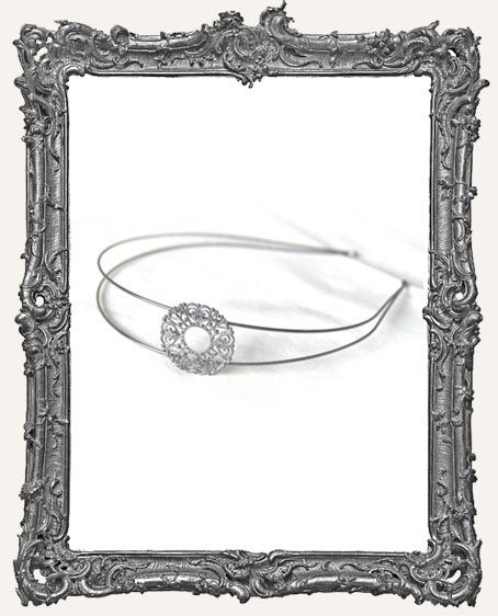 Gun Metal Floral Filigree Headband Base Blank
