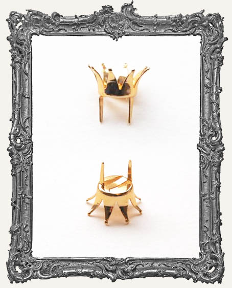 Tiny Gold 3D Metal Crown Fasteners - Set of 2